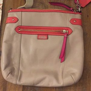 Color block Leather Coach Crossbody Bag